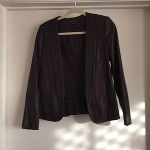 Theory leather jacket in chocolate brown